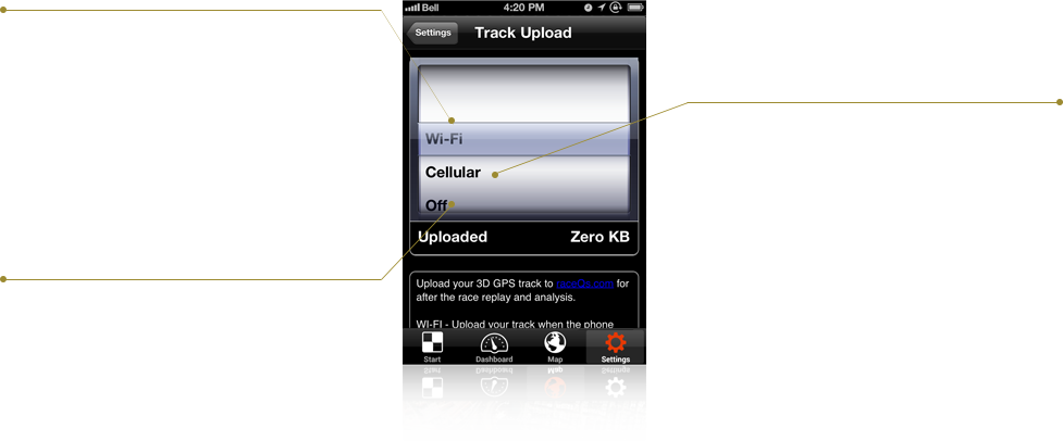 APP TUTORIAL: Settings for the track upload