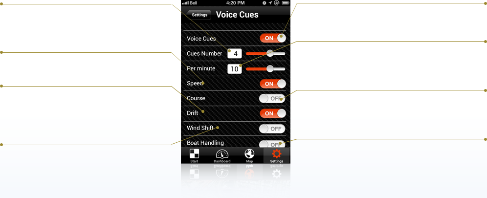 APP TUTORIAL: Settings for the audio cues